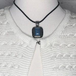 Lia Sophia Blue Pendant Suede Necklace